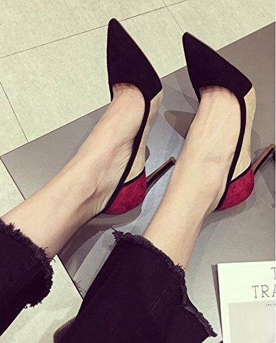 38 negro 5cm alto 37 Punta Heel Mujer elegante Ajunr 8 zapatos Ocasional mujer puerto solo Shoes luz Sandalias Transpirable de salvaje Retro zapatos vqBO7