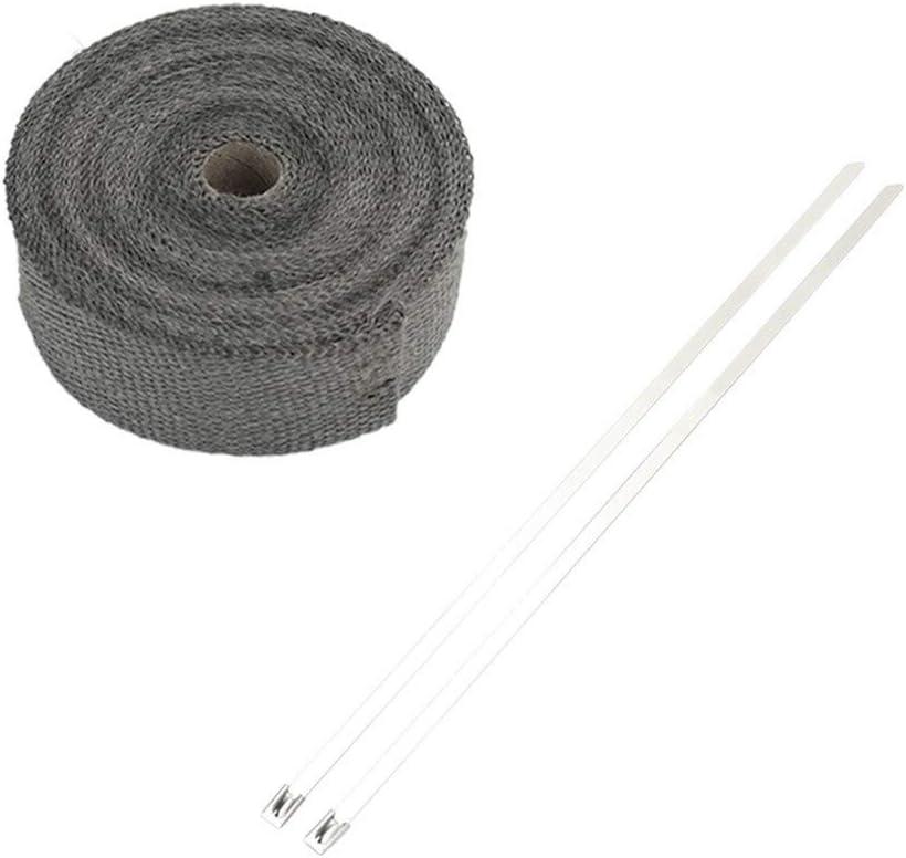 0,5//1//3//5 m en fibre de verre de chaleur Enveloppe d/échappement de moto Rouleau auto calorifug/é Wrap Turbo collecteur dadmission de chaleur Enveloppe durable Protection thermique Ruban Kit Pi/èces