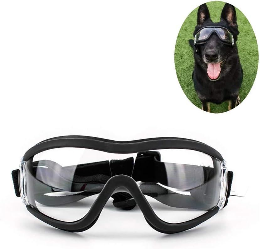 Gafas para perros Protección UV Sunglasse a prueba de viento Gafas de sol para perros a prueba de polvo Protección para los ojos con correa ajustable para perros medianos o grandes
