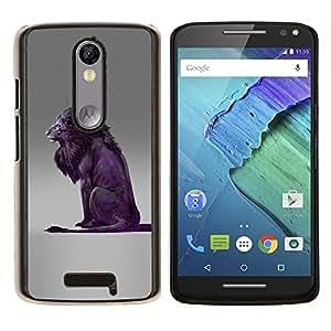 """Be-Star Único Patrón Plástico Duro Fundas Cover Cubre Hard Case Cover Para Motorola Droid Turbo 2 / Moto X Force ( León Púrpura Gris Rey naturaleza animal"""" )"""