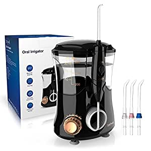 Water Flosser 10 Pressure Settings Clean as Dental Quiet Design 600ml Countertop with 3 Minutes Timer ProfessionalOral Irrigator for Home or Travel with 4 Jet Tip for Adult or Kids Black By Fairywill