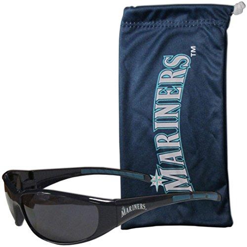 MLB Seattle Mariners Adult Sunglass and Bag Set, Blue
