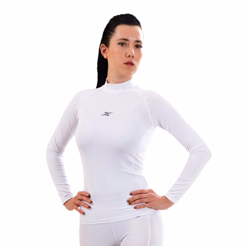 Womens Mock Neck Compression Fit Auqa Fast Dry Long Sleeve Shirt Base Layer QW WH S