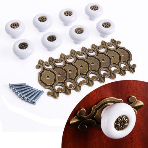 Kwikset Removal Tool (The Pecan Man 8Pcs White Ceramic Door Knobs Kitchen Drawer Pulls Furniture Cupboard Cabinet Handle)