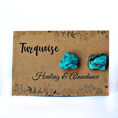 14k Gold Plated Handmade Raw Natural Turquoise Stud - Gold Lea