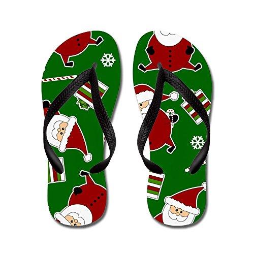Cafepress Leuke Ronde Kerstman Print - Flip Flops, Grappige String Sandalen, Strand Sandalen Zwart