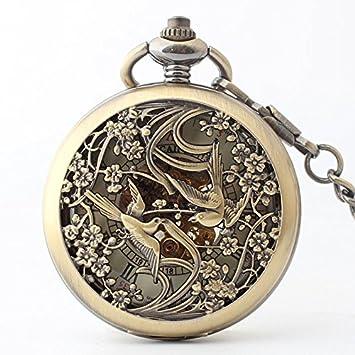 ZHANG31 Bronce Hacer el Reloj Reloj/Bolsillo de Bolsillo mecánico Flip Antigua en Honor a Sus Padres Ancianos: Amazon.es: Hogar