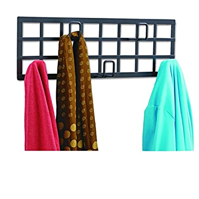 Safco Products Grid Coat Rack, Black - Grid design coat rack hooks Five continuous loop coat hooks Mounting hardware included - entryway-furniture-decor, entryway-laundry-room, coat-racks - 5119e3rx%2BNL. SS400  -