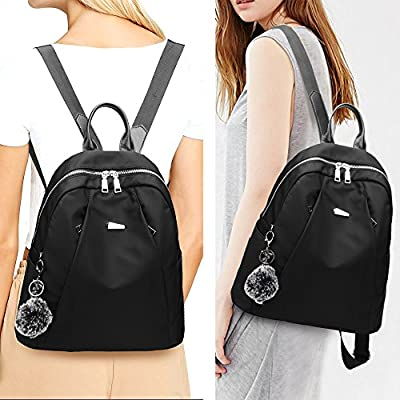 Women Backpack Purse Nylon Anti-theft Fashion Casual Lightweight Travel School Shoulder Bag (Luxury Black)