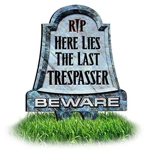 No Trespassing Signs: RIP Here Lies the Last Trespasser, Beware Tombstone Lawn Sign | Funny Halloween Sign | Dibond Yard Stake