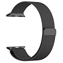 Apple Watch Band, JETech 38mm Milanese Loop Stainless Steel Bracelet Strap Band for Apple Watch 38mm All Models No Buckle Needed (Black)