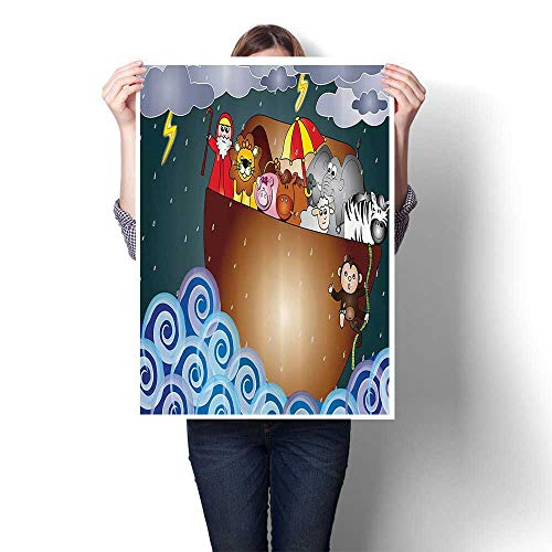 Wall Art Painting Noahs Ark in The Ocean Under Dark Rain StoClouds and Waves Old Legendary Stor On Canvas Modern Decoration Print Decor for Living Room,24