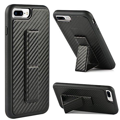 iPhone 7 Plus Case, iPhone 8 Plus Case, ZVEdeng Vertical and Horizontal Stand Hand Strap Foldable Kickstand Carbon Fiber Texture Phone Strap Slim Case for Apple iPhone 8 Plus/7 Plus 5.5 Black