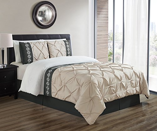 3 Piece KING size TAUPE / BLACK / WHITE Double-Needle Stitch Puckered Pinch Pleat-Embroidered Duvet Cover Set