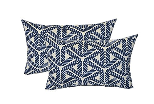 Set of 2 - Indoor / Outdoor Rectangle / Lumbar Decorative Throw / Toss Pillows ~ Navy Blue Ivory Nautical Rope Print