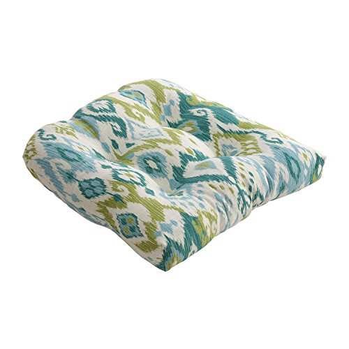 CC Outdoor Living Gunnison Teal Blue and Green Dyed Indonesian Cotton Chair Cushion 19