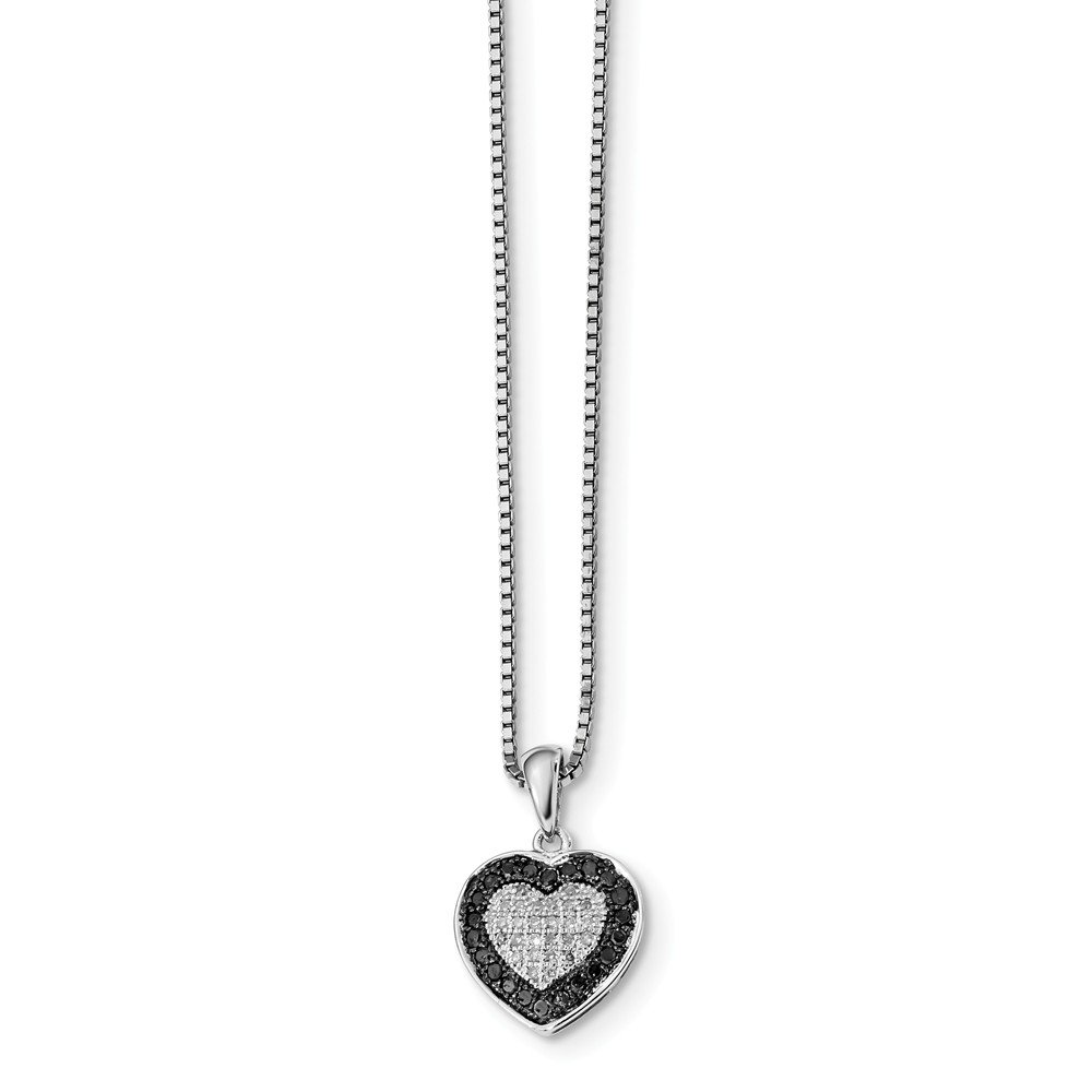Sterling Silver Black White Diamond Heart Pendant Necklace 18in (0.326CT)