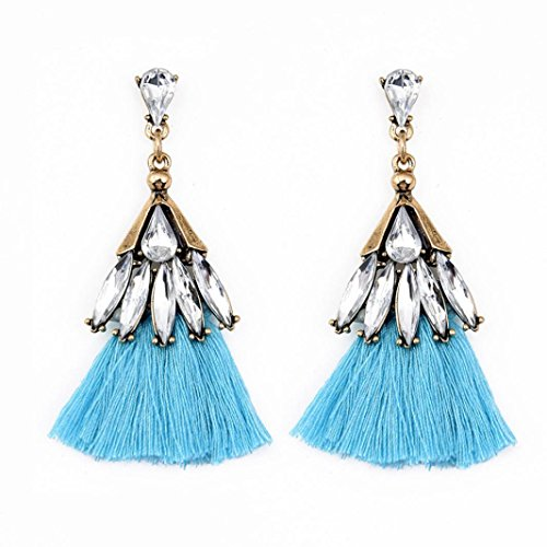 (Clearance Deals, Tassel Earrings, Womens Bohemian Fringe Drop Earrings Spherical Style Rhinestones Tassel Dangle Stud Earrings (Blue, Alloy))