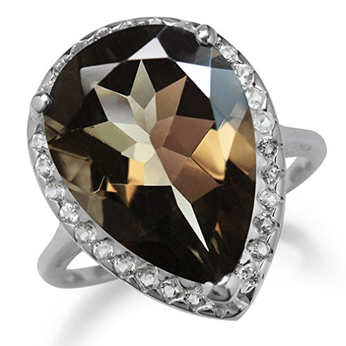 (HUGE 9.62ct. 18x13MM Natural Pear Shape Smoky Quartz & White Topaz 925 Sterling Silver Cocktail Ring Size 7.5)
