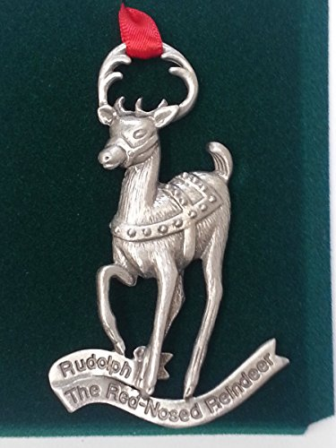 Reindeer Rudolph Pewter Ornament Christmas Holiday Deer (Pewter Ornament Snowman)