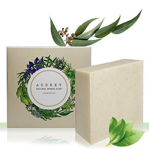 Audrey Handmade Natural Herb Bar Soap (Tea Tree Oil & Houttuynia Cordata, 2 pack)