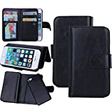 Juzi iPhone SE Case, Wallet Purse iPhone 5S 5 Case Leather Flip Cellphone Holder Case - Detachable Magnetic Cover with Lanyard Wrist Strap for iPhoneSE iPhone5s (Black)