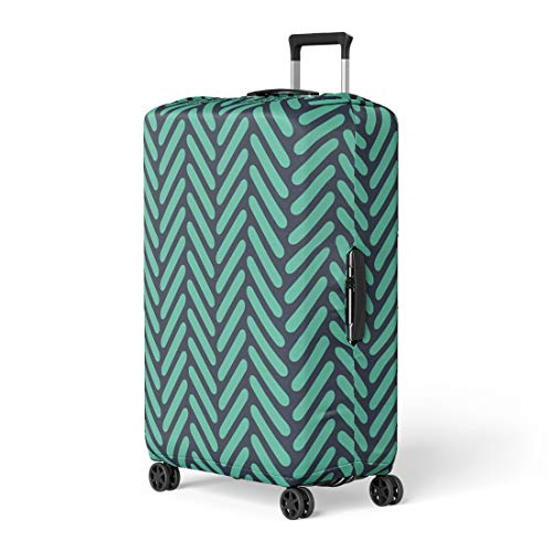 - Pinbeam Luggage Cover Abstract Neon Blue Rounded Herringbone Op Geo Pattern Travel Suitcase Cover Protector Baggage Case Fits 18-22 inches