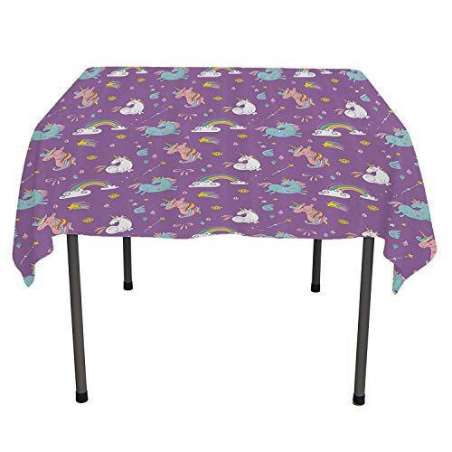 - Waterproof Table Cloth Unicorn and Rainbows Diamonds Wand Pattern Nursery Room Baby Girl Legendary Creature Print Outdoor Picnic Table Cloth Washable Spring/Summer/Party/Picnic 54 by 54