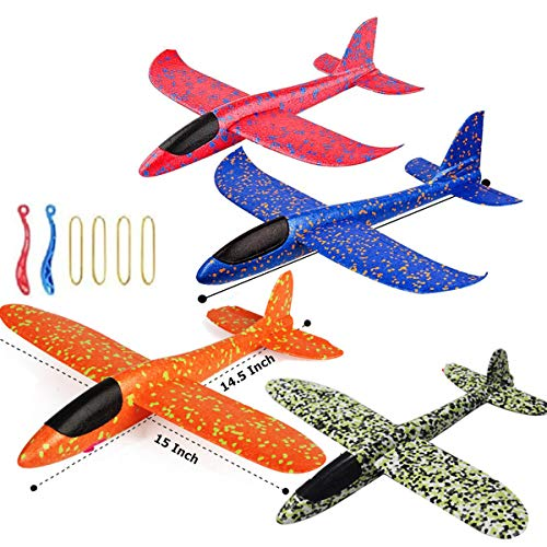 JUNBESTN 4 Pack Airplane Toy, 15 in Foam Plane Flying Glider Airplane, Manual Throwing Model Foam Aircraft, Outdoor Sports Flying Toy, Gift for Kids Birthday Party Favors