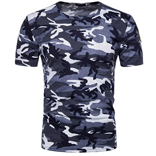 FUNIC 2018 Hot Sale ! Men's Camouflage Print O Neck Pullover T-Shirt Casual Tee Tops Blouse (L, Blue)