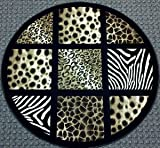 Animal Prints Round Rug 5 Ft. 6 In. X 5 Ft. 6 In. Design # S 251 Black