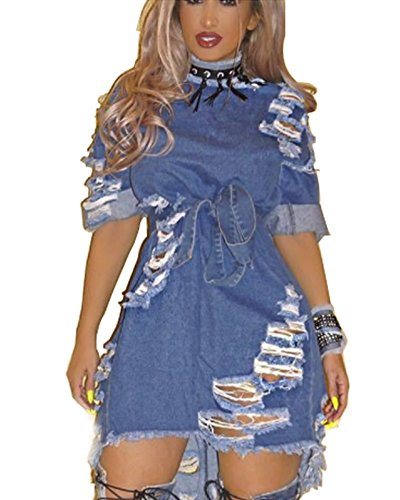 (Toomett Women's Sexy Front Zipper Light Blue Jeans Shirt Dress Night Club Denim Dress Plus Size #6233/Dark Blue/US XL)