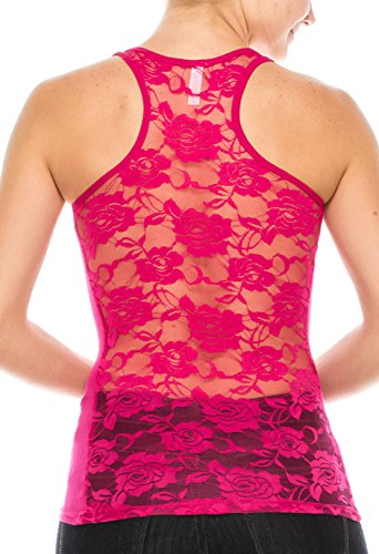Top Tank Lace Ribbed (ALLabout_U Women's Floral Lace Racerback Tank Top Thermal Magenta M)