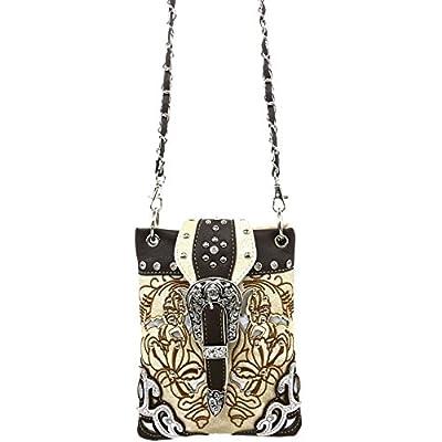 Justin West Floral Embroidery Tooled Laser Cut Rhinestone Studded Buckle CrossBody Mini Handbag Phone Messenger Purse