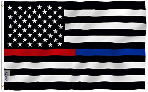 Anley [Fly Breeze 3x5 Foot Thin Blue Line and Red Line USA Polyester Flag - Vivid Color and UV Fade Resistant - Honoring Law Enforcement Officers and Firefighter Polyester Flags 3 X 5 Ft