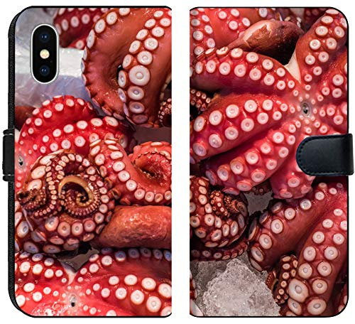 Luxlady iPhone XS Flip Fabric Wallet Case Image ID: 35592186 Red Live Octopus at Tsukiji Fish Market Tokyo Japan ()