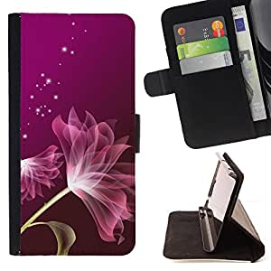 Petal Purple Stars Glitter Pink - Painting Art Smile Face Style Design PU Leather Flip Stand Case Cover FOR Samsung Galaxy S4 IV I9500 @ The Smurfs
