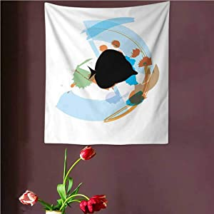 VVA Fish Tapestry Wall artSilhouette of a Discus Cichlid in a Partly Illustrated Bowl Cartoon in Pastel Colors Ream Wall Decor Blanket for Bedroom Home Dorm,?Multicolor