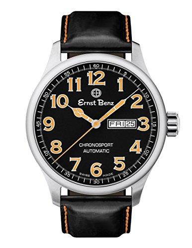 Ernst Benz Chronosport Orange Numerals Black Leather Band 44mm Swiss Automatic Mens Watch (Swiss Eta 2836 2 Automatic)