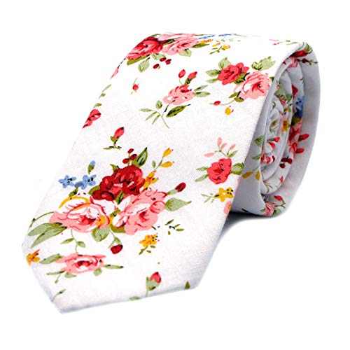 "JESLANG Mens Cotton Printed Floral Ties 2.56"" Skinny Narrow Tie Various Designs (white)"