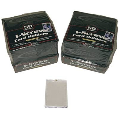 100 BCW Brand 1-Screw Down Trading Card Holder/Box - 20 Pt. Thick - BCW-1S - Protect Your Valuable Sports and Gaming Cards!: Sports & Outdoors