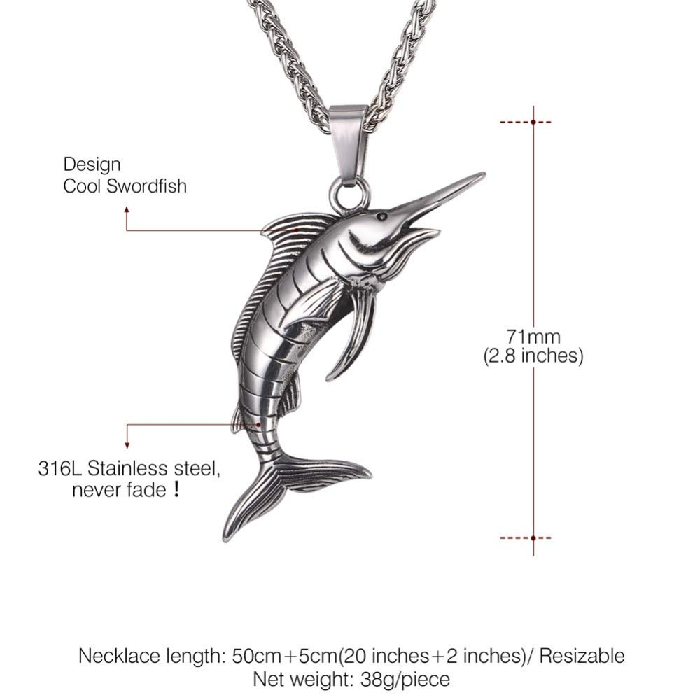 Necklace For Men Stainless Steel Swordfish Pendant /& Chain Necklace Rock Sea Animal Punk Kpop Necklaces Men Jewelry
