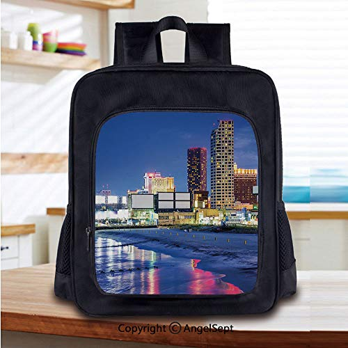 Lightweight Backpack Resort Casinos on Shore at Night Atlantic City New Jersey United States School Bag for Kid Girls Boys Travel College School Bags,Violet Blue Pink Yellow ()