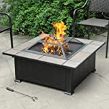 Axxonn Tuscan Ceramic Tile Top Fire Pit, Black/Antique Bronze /Model: FT501PTESMLID
