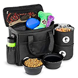 Top Dog Travel Bag – Airline Approved Travel Set for Dogs Stores All Your Dog Accessories – Includes Travel Bag, 2X Food Storage Containers and 2X Collapsible Dog Bowls – Black
