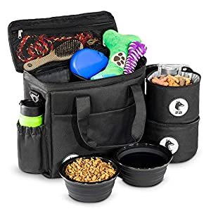 Top Dog Travel Bag - Airline Approved Travel Set for Dogs Stores All Your Dog Accessories - Includes Travel Bag, 2X Food Storage Containers and 2X Collapsible Dog Bowls - Black 39