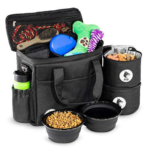- Top Dog Travel Bag - Airline Approved Travel Set for Dogs Stores All Your Dog Accessories - Includes Travel Bag, 2X Food Storage Containers and 2X Collapsible Dog Bowls - Black