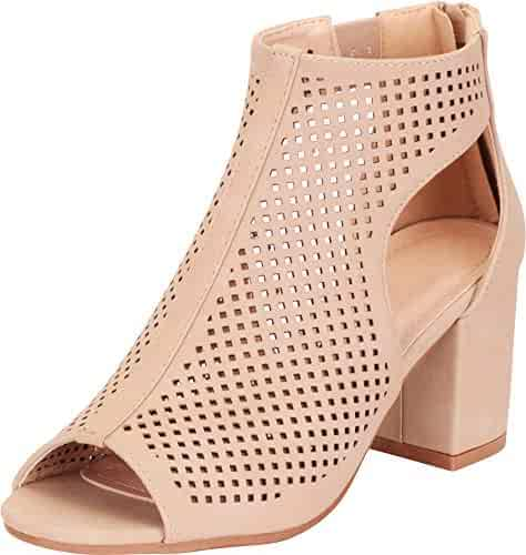 c165ad6bf9 Cambridge Select Women's Open Toe Laser Cutout Perforated Chunky Block Heel  Ankle Bootie