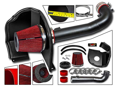 (RSG Racing Cold Air Heat Shield Intake Kit MATT BLACK with RED Compatible For 14-17 Silverado/Sierra 1500 5.3 6.2)
