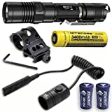 Combo: Nitecore MH12GT Rechargeable Flashlight w/Offset Gun Mount & RSW1 Pressure Switch +2x Free Eco-Sensa Batteries